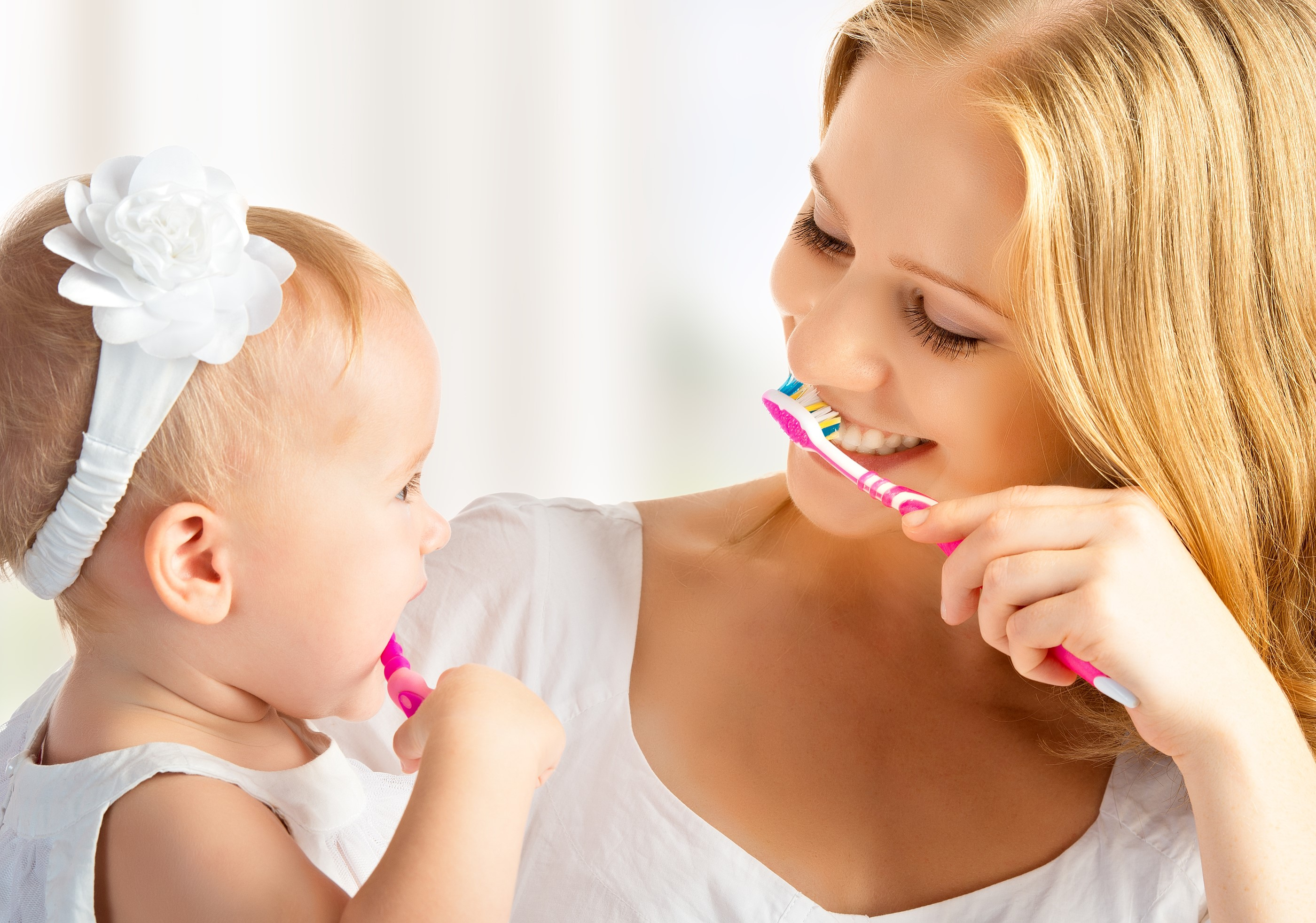 mother baby brushing